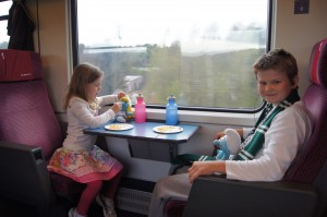 Matthew and Sophie during our 9 hour train trip from Brussells to Zug